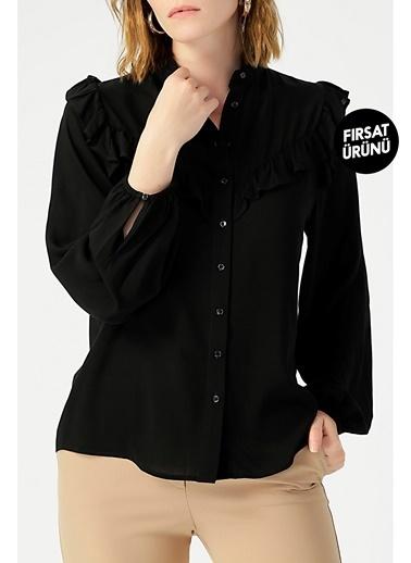 Random Kadın Fırfır Detaylı Hakim Yaka Gömlek Siyah